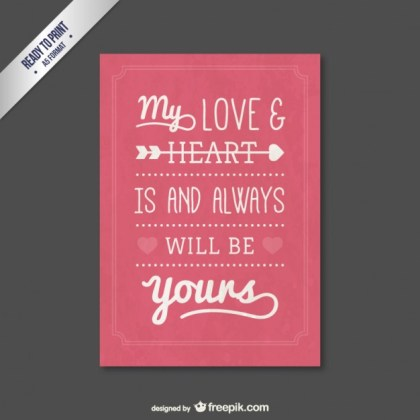 Romantic Valentine Card Free Vector