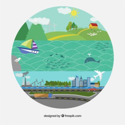 Round Illustration for Earth Day Free Vector