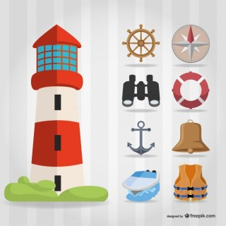 Sailing Elements with Lighthouse Free Vector