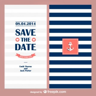 Sailor Theme Wedding Invitation Free Vector