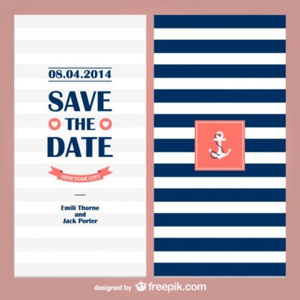 Sailor Theme Wedding Invitation Free Vector