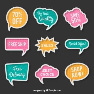 Sale Bubble Speeches Free Vector
