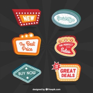 Sale Neon Panels Free Vector