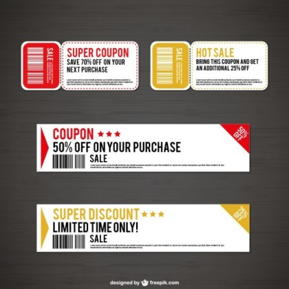 Sales and Discounts Coupons Free Vector