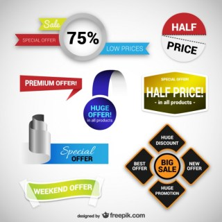 Sales and Discounts Stickers Free Vector