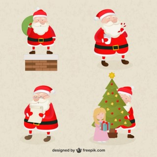 Santa Claus Cartoons Pack Free Vector