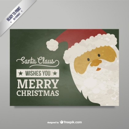 Santa Claus Christmas Greeting Card Free Vector