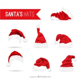 Santa Claus Hats Pack Free Vector