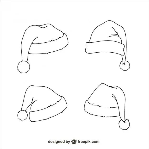 Santa Claus Hats Sketches Free Vector