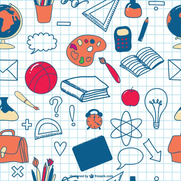 School Doodles Seamless Icons Background Free Vector