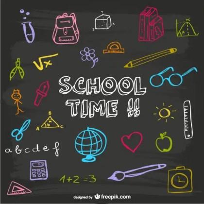 School Time Blackboard Design Free Vector
