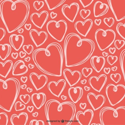 Scribbled Valentine Hearts Background Free Vector
