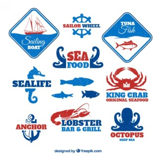 Sea Food Badges Free Vector