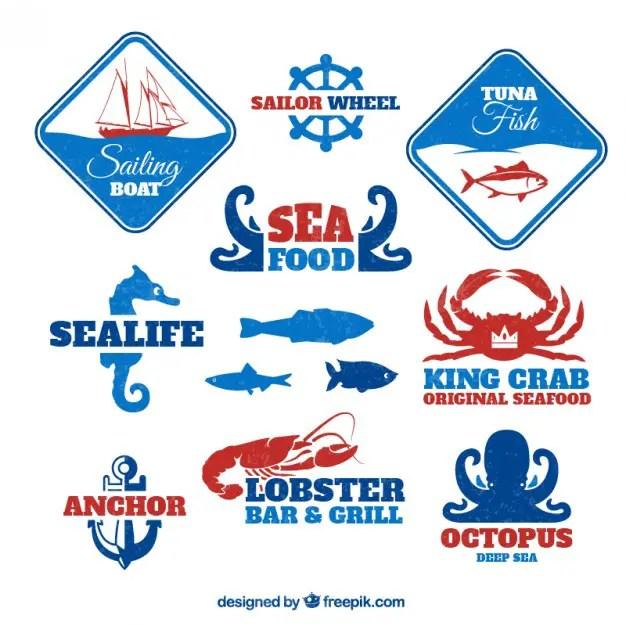 Sea Food Badges Free Vector