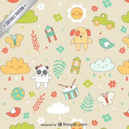 Seamless Baby Cartoons Pattern Free Vector