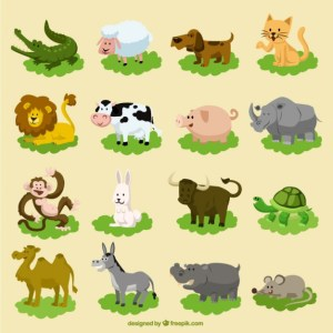 Set of Funny Cartoon Animals Free Vector
