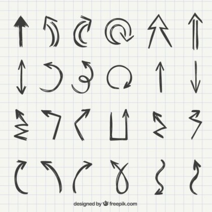 Set of Hand Drawn Arrows Free Vector