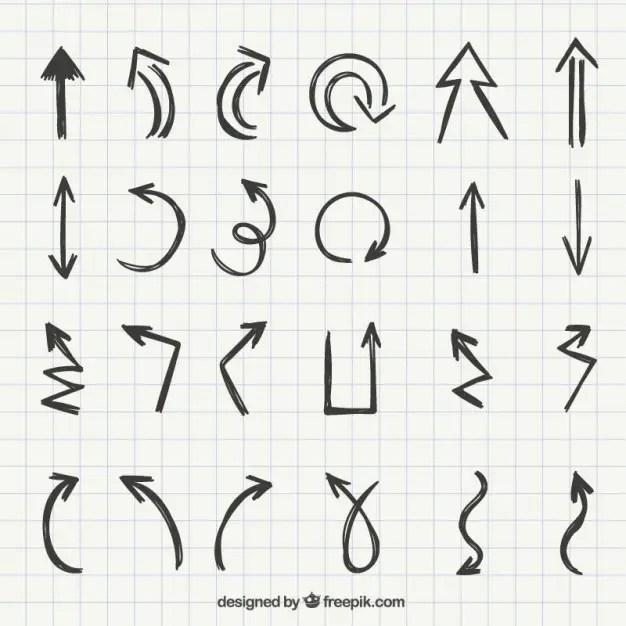 Set of Hand Drawn Arrows Free Vector
