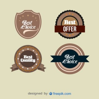 Set of Vintage Best Quality Medals Labels Free Vector