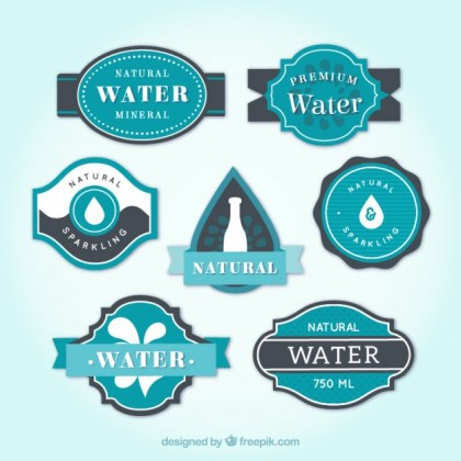 Set of Water Labels Free Vector