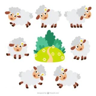 Sheep Cartoons Pack Free Vector