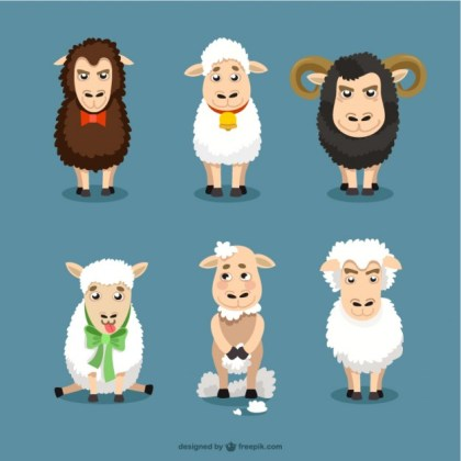 Sheep Cartoons Set Free Vector