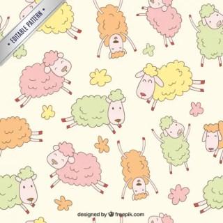 Sheeps Pattern Free Vector
