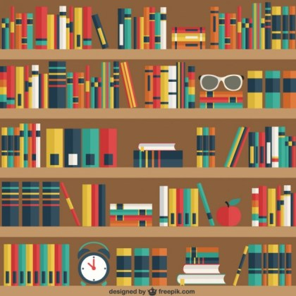 Shelves with Books Free Vector