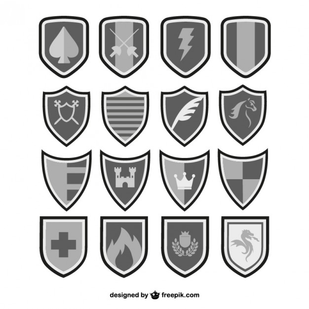Shields Black and White Set Free Vector