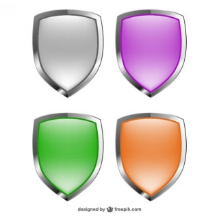 Shields Glossy Collection Free Vector