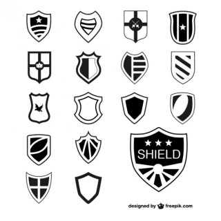 Shields Heraldic Elements Free Vector