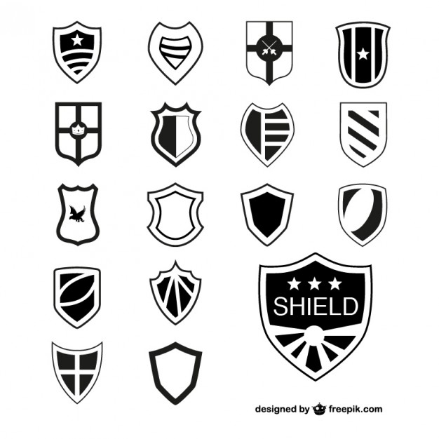 Shields Heraldic Elements Free Vector