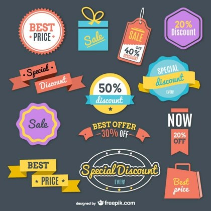 Shopping Retro Colorful Label Free Vector