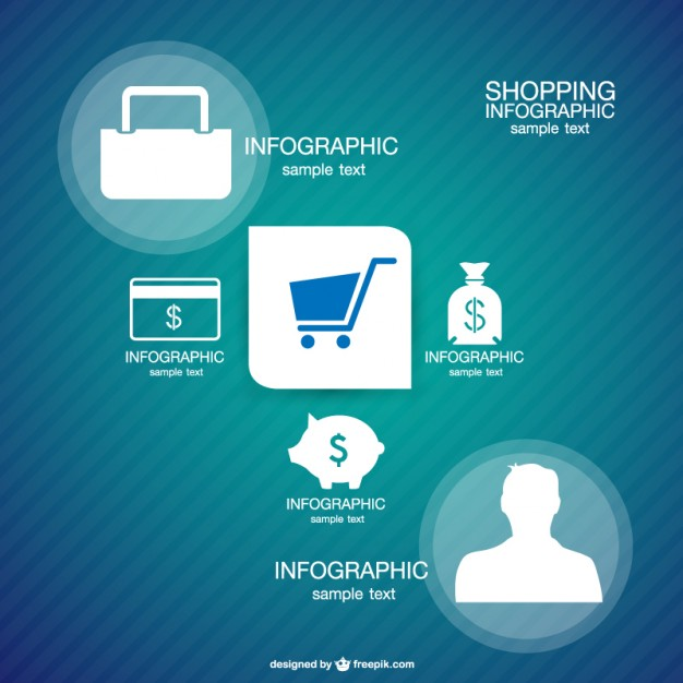 Shopping Template Infographic Free Vector