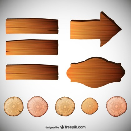 Signs with Wood Texture Free Vector