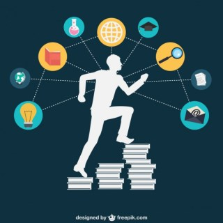 Silhouette with Academic Icons Free Vector