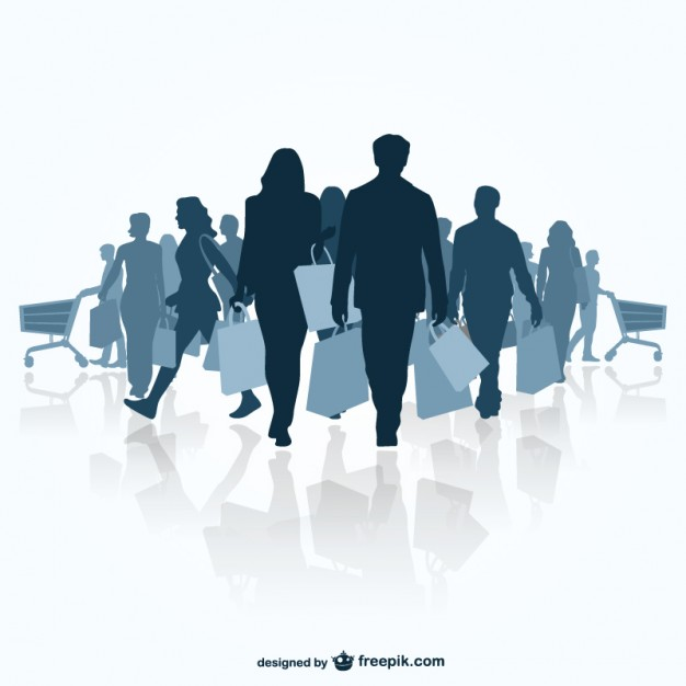 Silhouettes of People Shopping Free Vector