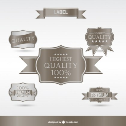 Silver Premium Labels and Badges Free Vector