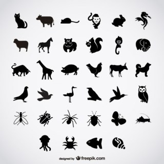 Simple Birds Silhouettes Free Vector