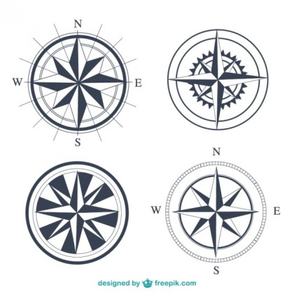 Simple Compasses Set Free Vector