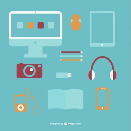 Simple Office Flat Objects Design Free Vector