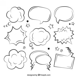 Sketchy Comic Speech Bubbles Free Vector