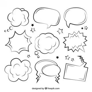 Sketchy Comic Speech Bubbles Free Vector