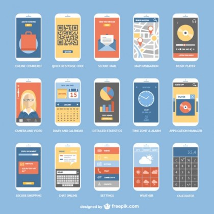 Smartphone Apps Collection Free Vector