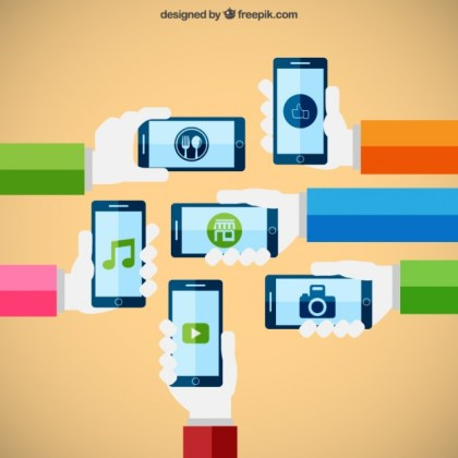 Smartphones Technology Concept Free Vector