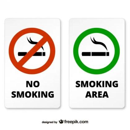 Smoking and Non Smoking Area Signs Free Vector