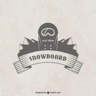 Snowboard Badge Free Vector