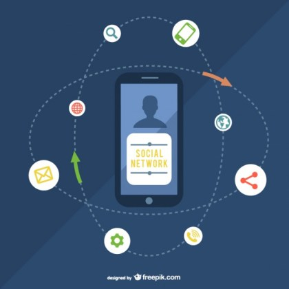 Social Network Illustration with Smartphone Free Vector