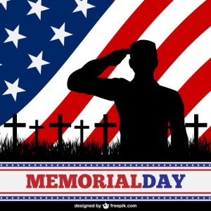 Soldier with American Flag Background Free Vector