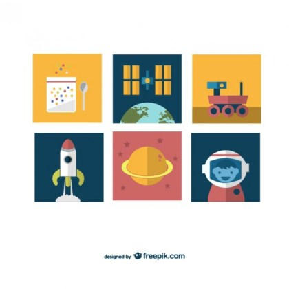 Space Mission Icons Free Vector